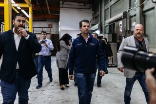 Donald Trump Jr. arrives at a rally at Ahern Manufacturing in Las Vegas, Nev. on Nov. 3, 2016.