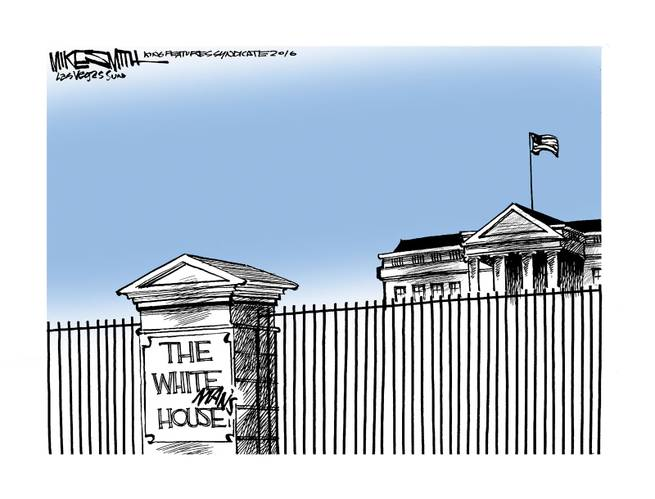 White House behind a wall with rewritten sign;: