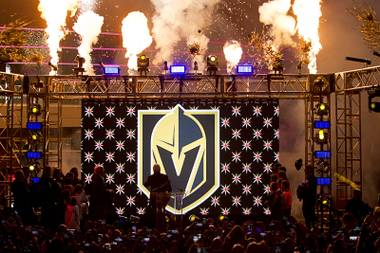 The Las Vegas NHL team's logo is unveiled during a ceremony in the Toshiba Plaza at T-Mobile Arena Tuesday, Nov. 22, 2016. The team name is the Vegas Golden Knights.
