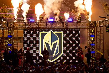 The logo for the Vegas Golden Knights is unveiled during a ceremony in the Toshiba Plaza at T-Mobile Arena Tuesday, Nov. 22, 2016.