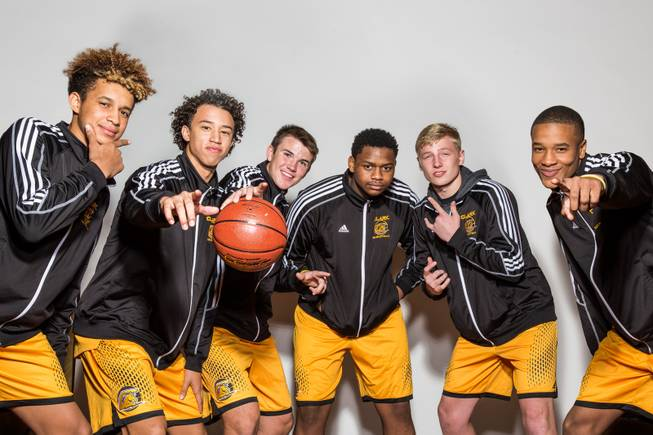 Clark High School Boys Basketball, from left, Jalen Hill, Ian Alexander, James Bridges, Antwon Jackson, Trey Woodbury and Sedrick Hammonds participate in the Las Vegas Sun Media Day at The South Point, Wed Nov. 16, 2016.