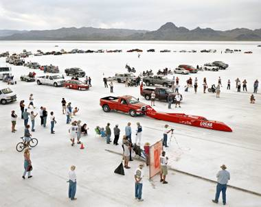 "This photograph called ""Bonneville #1"" of the starting line during the land speed-trials at the Bonneville Salt Flats was taken by renowned photographer Edward Burtynsky  and is part of the exhibition ""Edward Burtynsky: Oil"" at the Marjorie Barrick Museum at UNLV."