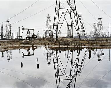 "This photograph of the SOCAR oil fields was taken by renowned photographer Edward Burtynsky  and is part of the exhibition ""Edward Burtynsky: Oil"" at the Marjorie Barrick Museum at UNLV."