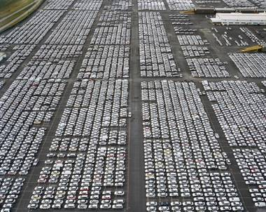 "This photograph called ""VW Lot #1"" was taken by renowned photographer Edward Burtynsky  and is part of the exhibition ""Edward Burtynsky: Oil"" at the Marjorie Barrick Museum at UNLV."