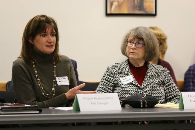 Oregon State Representative Ann Lininger speaks while Oregon State Sen. Ginny Burdick looks on during a meeting with five Nevada state legislators and several more business leaders from Nevada's marijuana industry on Tuesday, Nov. 29, 2016 at the OLCC headquarters in Portland, Oregon. The Nevada representatives traveled to Portland this week  meet with state and city officials for advice on implementing recreational marijuana, and also toured Pure Green Marijuana Dispensary in the afternoon.