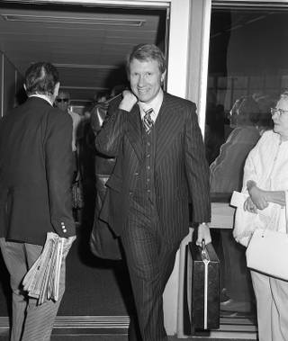 Harry Reid arriving at McCarran Airport, circa 1978.