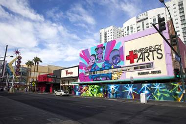 A mural by artist Jerry Misko, bottom, is shown at the Emergency Arts building in downtown Las Vegas Sunday, Dec. 11, 2016.