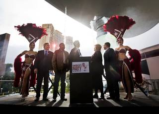 Representatives from Las Vegas Events, the Las Vegas Convention and Visitors Authority, Fireworks by Grucci and local politicians watch a brief fireworks display during a news conference at the Fashion Show Mall Thursday, Dec. 15, 2016.  Details for the annual New Year's Eve celebrations in Las Vegas were unveiled at the news conference.
