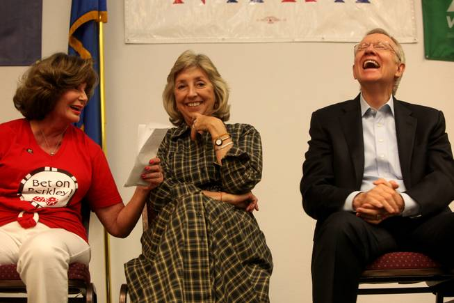 Congresswoman Shelly Berkley, (left) Congresswoman Dina Titus, and Sen. Harry Reid share a moment during the 2010 rally with the Nevada Alliance for Retired Americans at Painters Hall in Henderson.