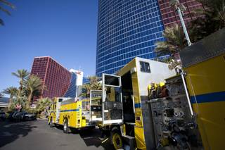 Fire trucks line the front of the Rio Hotel & Casino after reports of smoke coming from the 21st floor of the Masquerade Tower led to guests being evacuated Thursday, Dec. 29, 2016.
