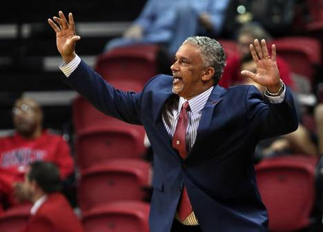 UNLV head coach Marvin Menzies does his best to keep his players dialed in versus Wyoming during their game at the Thomas & Mack Center on Saturday, Dec. 31, 2016.