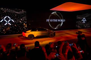 Faraday Future unveils  their first production vehicle, the FF91, during CES week in Las Vegas, Tuesday, Jan. 3, 2017.