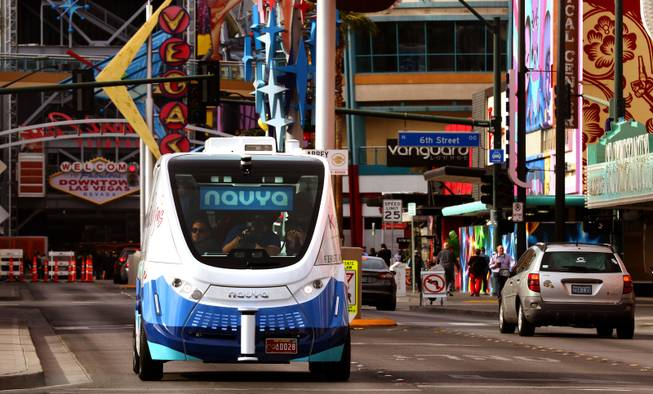 The nation's first completely autonomous, fully electric shuttle was deployed in the Innovation District in downtown Las Vegas on Tuesday, Jan. 10, 2017.