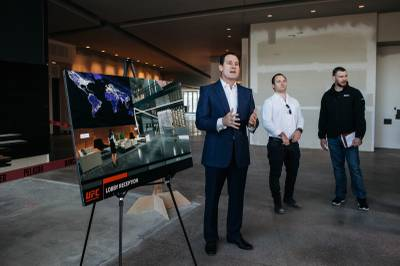 UFC Chief Operating Officer Lawrence Epstein, left, and UFC executives James Kimball and Forrest Griffin address journalists during a media tour of the UFC's Corporate Campus and Performance Institute at Torrey Pines Drive and Raphael Rivera Way, Wednesday, Jan. 18, 2017.
