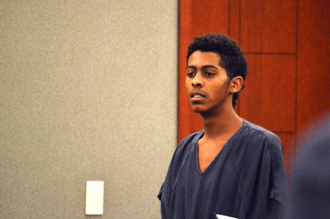 Richard Newsome appears in Las Vegas Justice Court on Jan. 20, 2017. Newsome, 17, is charged in the shooting death of former Chaparral High School football player Richard Nelson.