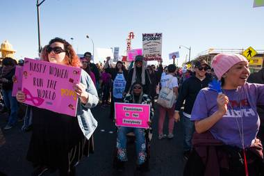 Millions marched in cities worldwide to show their objection to President Trump. Las Vegas was no exception.