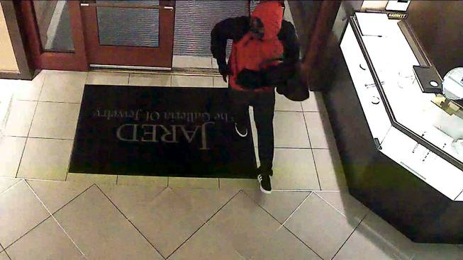 The suspect in an attempted robbery at Jared the Galleria of Jewelry, at 1071 W. Sunset Road, near Marks Street, in Henderson on Saturday, Jan. 21, 2017, is seen in surveillance footage.
