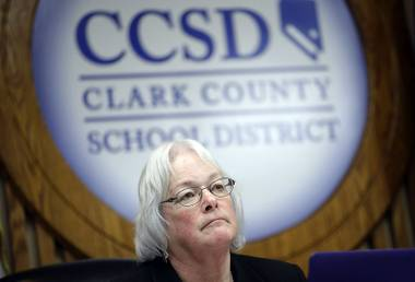 Clark County School Board member Carolyn Edwards listens to public comment during a board meeting Thursday, Jan. 26, 2017, in Las Vegas. School trustees in Las Vegas, where almost half the students are of Hispanic heritage, declared the nation's fifth-largest public school district a safe haven for students, regardless of their citizenship status.