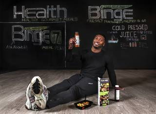 Gerome Sapp is a former NFL player turned businessman and recently opened Health Binge which features pre-made, healthy meals for people looking to lose weight, stay active or eat healthier on Friday, Jan. 20, 2017.