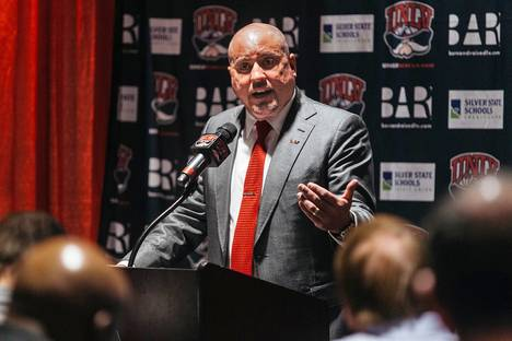 UNLV head coach Tony Sanchez announces his third signing class to reporters at the Thomas & Mack Center on Wednesday, Feb. 1, 2017.