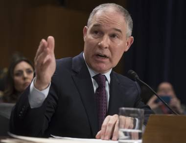 In this Jan. 18, 2017, file photo, Environmental Protection Agency Administrator nominee Oklahoma Attorney General Scott Pruitt testifies on Capitol Hill in Washington at his confirmation hearing before the Senate Environment and Public Works Committee.