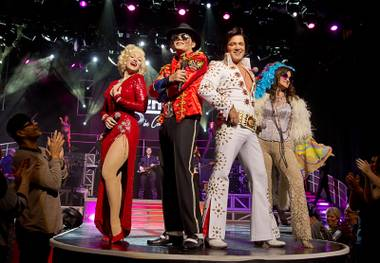 Tribute artists, from left, Stacey Whitton as Marilyn Monroe, Damian Brantley as Michael Jackson, Kevin Mills as Elvis Presley and Michelle Rohl as Janis Joplin pose during the Legends in Concert show at the Flamingo Monday, Feb. 27, 2017. The new cast will perform through May 11.