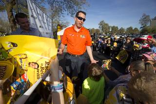 NASCAR driver Kyle Busch signs autographs for fans during an appearance at the Ethel M Chocolates factory in Henderson Thursday, March 9, 2017.