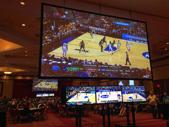 A look at the setup inside the ballroom at the South Point for an NCAA Tournament viewing party in March 2015.