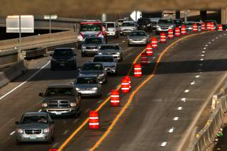 Traffic is constricted by lane closures related to Project Neon, a nearly $1 billion, 4-mile-long widening of Interstate 15 from the U.S. 95 interchange to Sahara Avenue on Tuesday, March 21, 2017.
