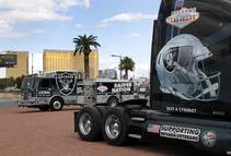 Trucks decorated by the Laborers Union, Local 872, are parked in the median of Las vegas Boulevard South near the Welcome to Las Vegas sign ...