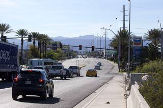 A view of traffic on Russell Road near the proposed Las Vegas Raiders stadium Russell Road site Wednesday, March 29, 2017.