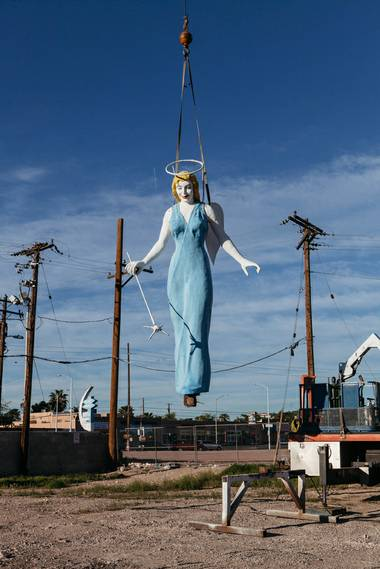 The Betty Willis-designed icon of the Blue Angel Motel was taken down in March 2017 for restoration.