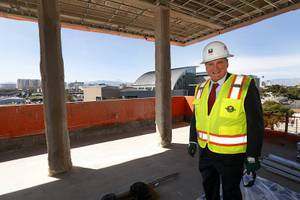 Stowe Shoemaker, dean of the William F. Harrah College of Hotel Administration, poses during a tour of Hospitality Hall, a new facility under construction at UNLV, Tuesday, April 4, 2017.