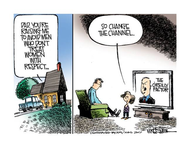 Image One:  Voice balloon over house:  Dad, you're raising me to avoid men who don't treat women with respect.  Image Two:  Little girl to father who's watching The O'Reilly Factor:  So change the channel.