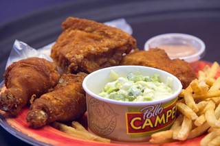 A chicken order with french fries and cole slaw is shown during the grand opening of Pollo Campero, 1025 W. Craig Rd., Wednesday, April 5, 2017. The restaurant, founded in Guatemala, is the first Las Vegas location for the popular Latin chicken chain.