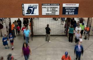 As game time nears fans continue to stream into the stadium at Cashman Field for the Las Vegas 51s home opener versus the Fresno Grizzlies on Tuesday, April 11, 2017.