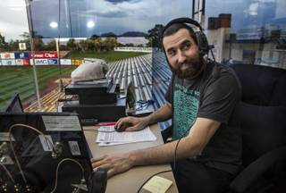 Deejay Jake Wagner handles the walk-up music for players and more during the Las Vegas 51s games like here at their home opener versus the Fresno Grizzlies at Cashman Field on Tuesday, April 11, 2017.