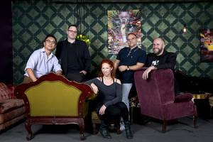 Artistic directors pose at the Velveteen Rabbit in downtown Las Vegas Thursday April 13, 2017. From left: Lysander Abadia, Las Vegas Little Theatre Black Box, Will Adamson, co-founder of the Cockroach Theatre, Kate St-Pierre, The Lab LV, Christopher Edwards, Nevada Conservatory Theater, and Troy Heard, Majestic Repertory Theater.