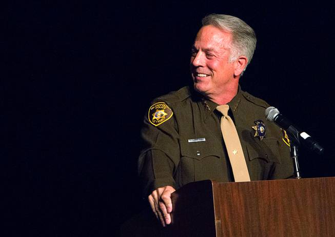 Clark County Sheriff Joe Lombardo speaks to Las Vegas Metro Police recruits during a graduation ceremony at Red Rock Resort Thursday April 13, 2017.  Seventy recruits graduated the academy.