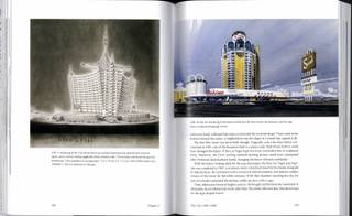 A spread from the book The Strip: Las Vegas and the Architecture of the American Dream by Dutch architect Stefan Al shows a rendering by Bruce Alonzo Goff of the Viva Casino and Hotel (left) and an Ad-Art rendering of the Sands (right).