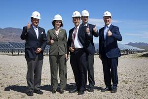 Executives and politicians pose during a dedication ceremony for the SunPower Boulder Solar 1 Facility in Boulder City Tuesday, April 18, 2017. From left: Bob Schaffeld, senior vice president and chief commercial officer for Southern Power, Sen. Catherine Cortez Masto (D-Nev), Boulder City Mayor Rod Woodbury, Norm Taffe, senior vice president of Products for SunPower, and Pat Egan, senior vice president of renewable energy and smart infrastructure at NV Energy.