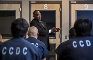 Jon Ponder with Hope for Prisoners speaks to inmates about his rocky path and eventual success at the Clark County Detention Center on Friday, April 14, 2017.