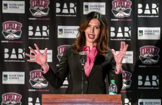 New UNLV Athletic Director Desiree Reed-Francois speaks to all in attendance during a media conference about her recent hire on Thursday, April 18, 2017.
