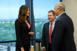 From left, UNLV's new Athletic Director Desiree Reed-Francois, UNLV President Len Jessup, and Brian Greenspun meet at the Las Vegas Sun offices Tuesday April 18, 2017.