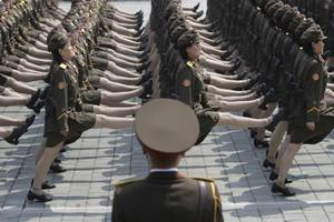 North Korean women soldiers take part in a military parade Saturday, April 15, 2017, in Pyongyang, North Korea, to celebrate the 105th birth anniversary of Kim Il Sung, the country's late founder and grandfather of current ruler Kim Jong Un.