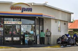 Metro investigates a stabbing at an ARCO convenience store in the 500 block of North Lamb Boulevard where a male customer was fatally stabbed and likely related to two others nearby on Wednesday, April 19, 2017.