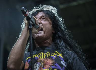 Anthrax lead singer Joey Belladonna performs with the band during Las Rageous, a two-day music festival taking over the Downtown Las Vegas Events Center on Friday, April 21, 2017.
