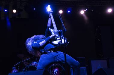 Mastodon bassist Troy Sanders performs during their set at the first annual Las Rageous music festival at the Las Vegas Downtown Event Center, Saturday, April 22, 2017.