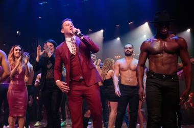 Channing Tatum thanks guests at the opening night of Magic Mike Live Las Vegas at the Hard Rock Hotel & Casino, Friday, April 21, 2017.