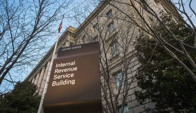 This April 13, 2014, photo shows the Internal Revenue Service headquarters building in Washington. President Donald Trump's plan to provide massive tax breaks to corporations faces big challenges as Washington struggles with mounting debt and the populist president tries to make good on promises to bring jobs and prosperity to the middle class.